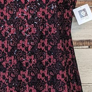 Anne Klein Dresses - Anne Klein Red w/ Black Sequins Dress sz 8 NWT